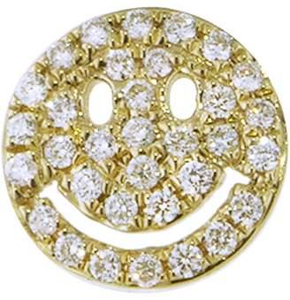 Sydney Evan Diamond Pavé Happy Face Single Stud Earring - Yellow Gold