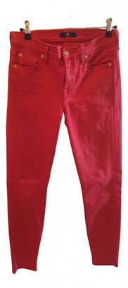 7 For All Mankind Red Cotton Trousers for Women