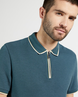 Ted Baker SELLO Textured polo with zip neck