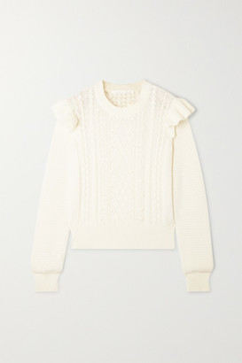 Veronica Beard Earl Ruffled Cable-knit Cotton-blend Sweater - Off-white