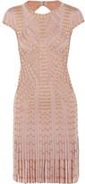 Herve Leger Fringed Embellished Bandage Mini Dress - Blush