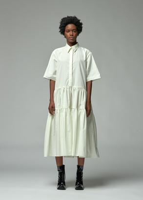 Cecilie Bahnsen Women's Shirtdress With Voluminous Hem in Light Yellow Size 10 100% Cotton