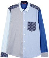 Barena Blue Patchwork Cotton Shirt