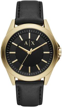 Armani Exchange Drexler 3-Hand Stainless Steel Leather-Strap Watch