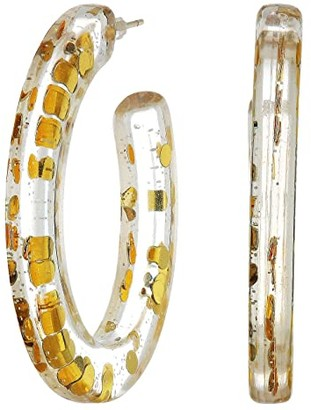Madewell Stella Party Resin Hoop Earrings (Gold Glitter) Earring
