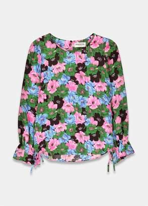 Essentiel Antwerp - Terracotta floral print long sleeve top in pink, blue and green - UK8 | viscose | pink | Green Blue - Pink/Pink