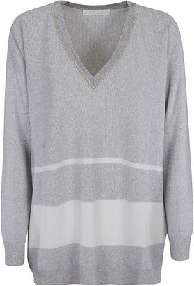 Fabiana Filippi Stripe Embellished V-neck Sweater