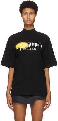 Palm Angels Black Los Angeles Sprayed Logo T-Shirt