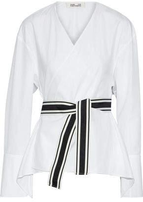 Diane von Furstenberg Belted Cotton-Poplin Wrap Top
