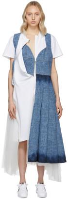 Junya Watanabe Indigo and White Denim and Tulle Mix Dress