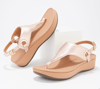 Vionic Leather Metallic T-Strap Sandals -Jolie