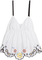 See by Chloe Scalloped Embroidered Cotton-poplin Top - White
