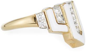 David Webb Geometric White Enamel & Diamond Ring