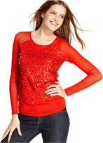 DKNY Jeans Top, Long-Sleeve Mesh Sequin