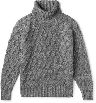 Inis Meáin Melange Cable-Knit Wool And Cashmere-Blend Rollneck Sweater