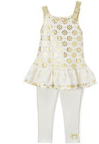 Juicy Couture Ivory & Gold Floral Tank & Leggings - Toddler & Girls