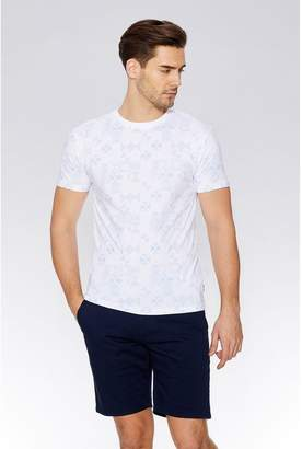 Quiz White & Blue Geometric Print T-Shirt