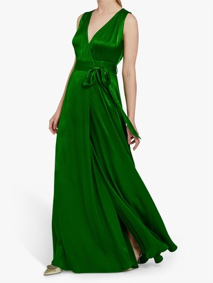 Ghost Lola Satin Wrap Maxi Dress