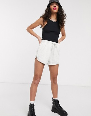 Topshop runner sweatshorts in grey marl