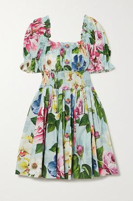Dolce & Gabbana Ruffled Shirred Floral-print Cotton-poplin Mini Dress - Blue