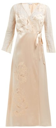 Carine Gilson Lace-trimmed Silk-satin Robe - Cream