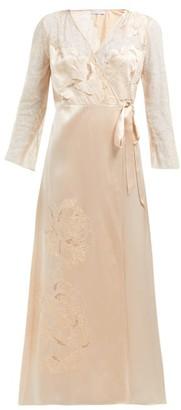Carine Gilson Lace-trimmed Silk-satin Robe - Womens - Cream