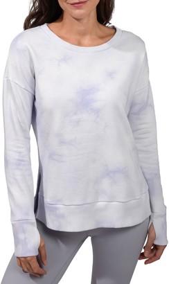 90 Degree By Reflex Brushed Knit Tie Dye Long Sleeve Top