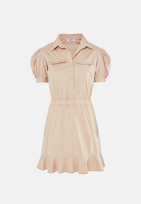 Missguided Stone Puff Sleeve Utility Shirt Dress