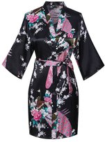 Kissria Women's Kimono Robes Peacock and Blossoms Short Style Silk Nightwear