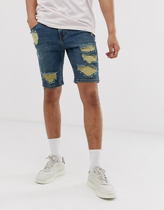 Asos Design DESIGN denim shorts in skinny dark wash blue with heavy rips