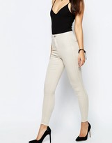 Asos Rivington High Waisted Denim Jeggings In Stone