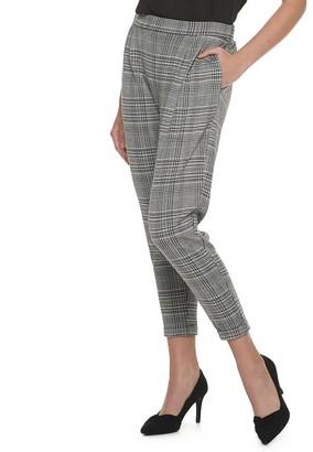 Elle Women's Double-Knit Pull-On Plaid Pants
