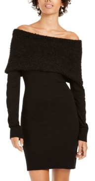BCX Juniors' Off-The-Shoulder Foldover Sweater Dress