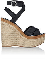 Prada Women's Crisscross Ankle-Strap Platform Sandals-BLACK