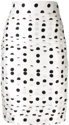 Bambah Polka Dot Ruched Pencil Skirt