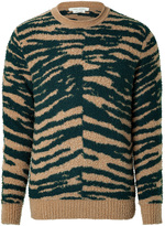 Cashmere-Wool Zebra Print Pullover