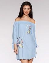 Quiz Embroidered Bardot Tunic Dress