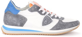 Philippe Model Tropez X Sneaker In Gray Washed Leather And White Fabric