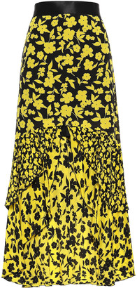Alice + Olivia Asymmetric Floral-print Silk Crepe De Chine Skirt