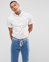 Esprit Short Sleeve Shirt In Slim Fit With All Over Ditsy Print