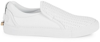 Buscemi Leather Weave Slip-On Sneakers