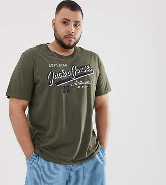 Jack and Jones Essentials vintage logo t-shirt in khaki-Green
