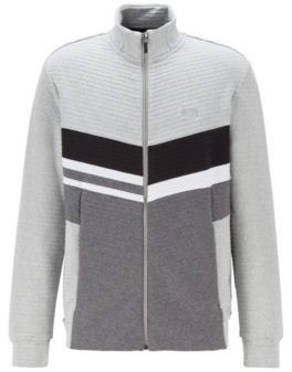 HUGO BOSS Colour-block sweatshirt in quilted-ottoman fabric