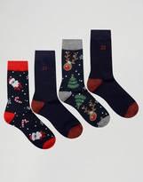 Jack and Jones Socks 4 Pack in Holidays Design