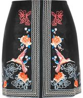River Island Womens Black floral embroidered mini skirt