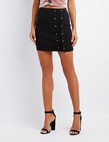 Charlotte Russe Lace-Up Mini Skirt