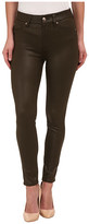 7 For All Mankind High Waist Ankle Knee Seam Skinny in Hunter Green Crackle