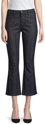 AG Jeans Jodi High-Rise Metallic-Striped Crop Jeans