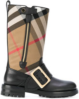 Burberry house check buckle detail boots
