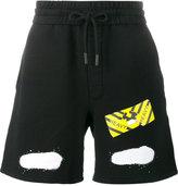 Off-White diagonal spray print shorts - men - Cotton - M